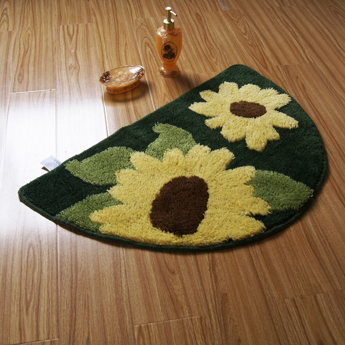 Semi Circle Yellow Sunflower Non Slip Rug Bath Mat Bathroom Toilet In 2018 Pinterest Rugs And