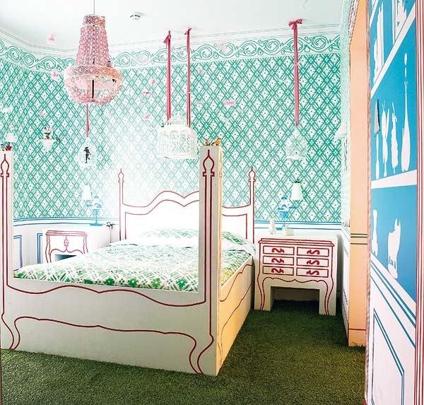 green kids' room floor