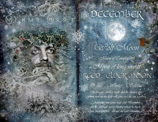 "Book of Shadows Moon:  ""December: Reed/Elder Moon,"" by Angie Latham. It makes a lovely Moon page for a Book of Shadows."