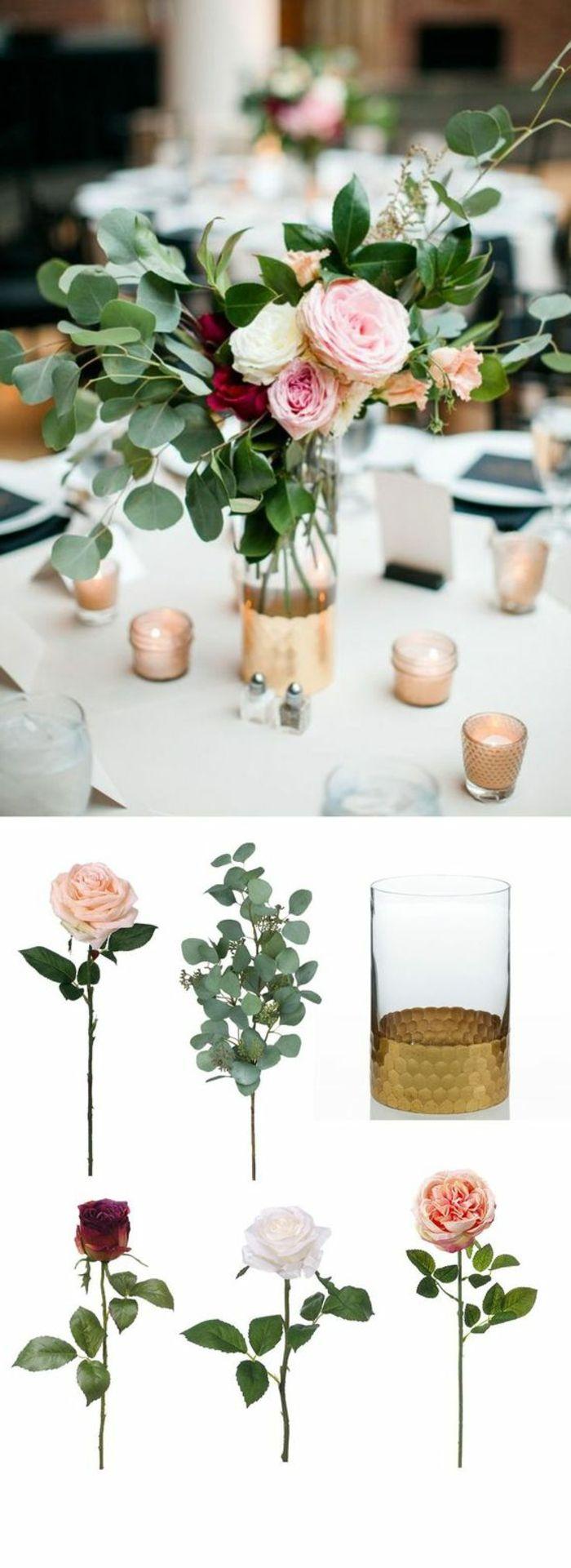festliche tischdeko, glasvase dekoriert mit goldener farbe, rosen