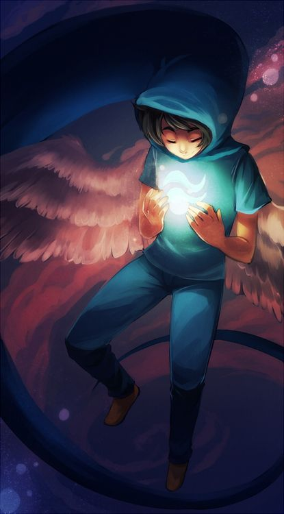 Happy birthday to John Egbert and happy fifth(?) anniversary of the start of Homestuck! :D A young man stands in his bedroom...