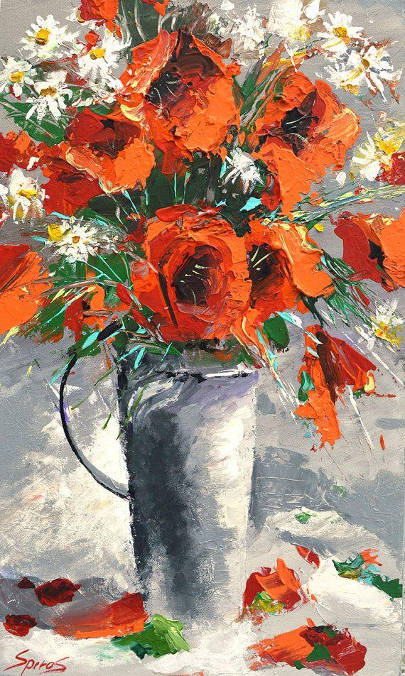 Original Wall Art RED POPPIES oil on canvas Painting by spirosart www.etsy.com/shop/spirosart #art #color #flower #flowers #painting #oilpainting #canvas #artdeco #wallart #poppies #oil