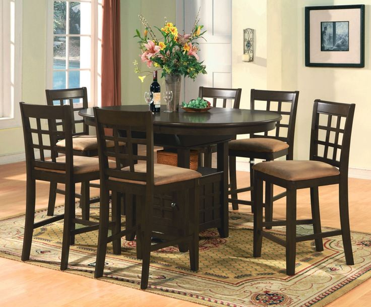 Oval Counter Height Dining Set 7pc Table 6 Bar Stools