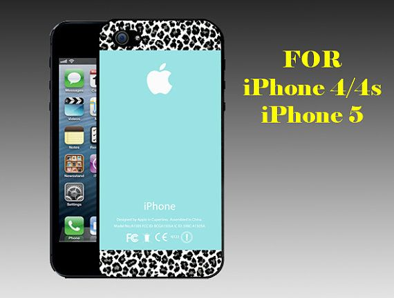 Apple Logo Mint Leopard - Print on Hard Cover iPhone 5 Black Case - iPhone 4/4s Case - Please Leave a Note For the Type Case and Color Case