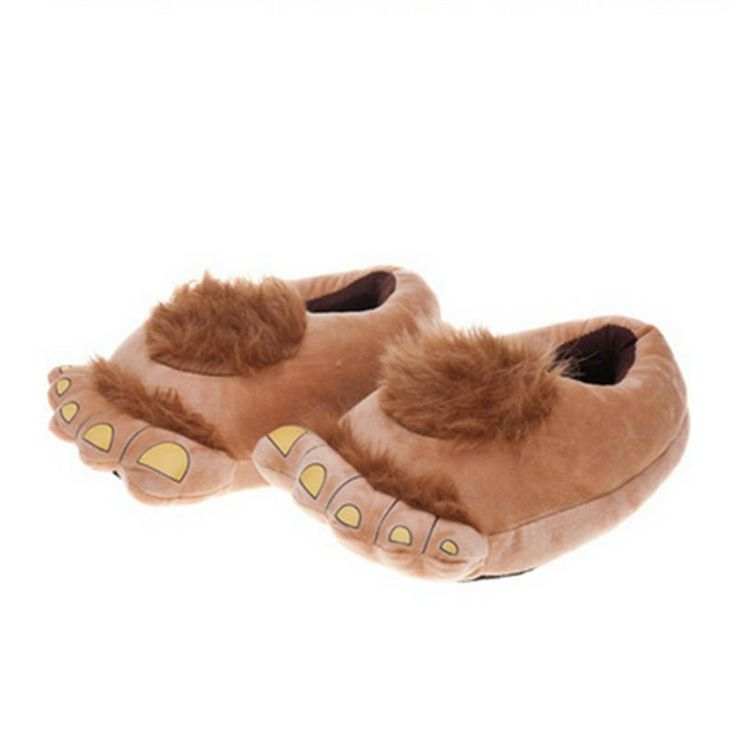 Thermal Hobbit Feet Winter Home Fur Slippers Plush Soft Skidproof Warm Shoes