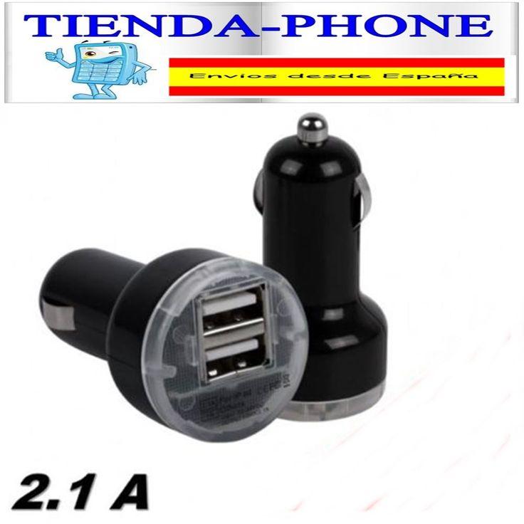 CARGADOR DE COCHE DOBLE USB PARA SMARTPHONE TABLET SAMSUNG ADAPTADOR 3.1A NEGRO