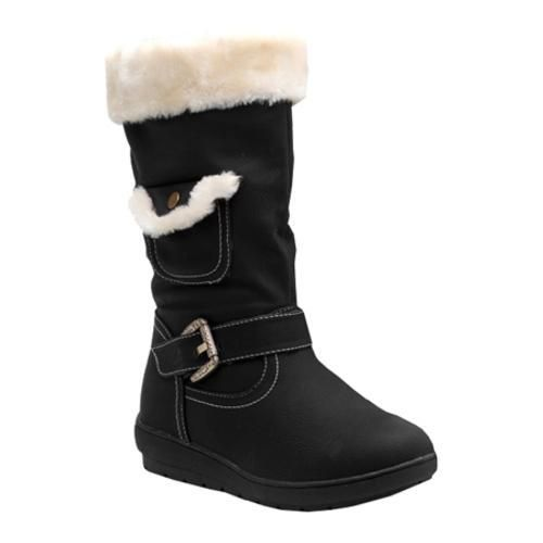 This warm mid-calf boot features a shaft top wrapped with faux fur, with a strap and decorative buckle horizontally across over the ankle,with a pocket on the side. The lightly cushioned footbed provides added comfort.