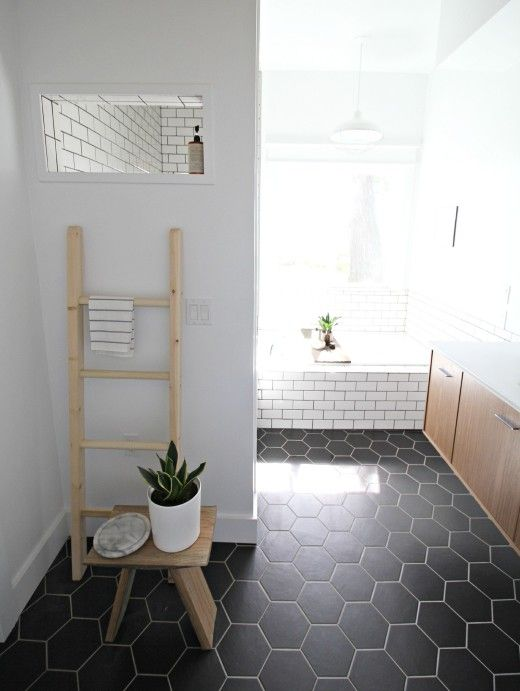 #bathroom Design By Kirsten Grove Of Simply Grove   LOVING THE STUNNING  BLACK FLOOR TILE Part 67
