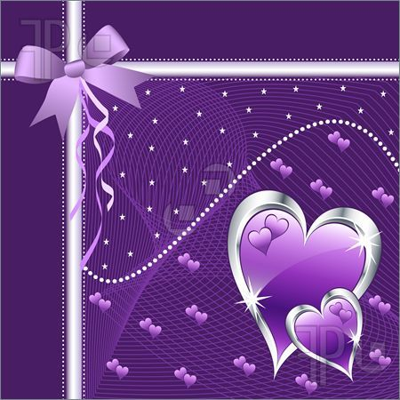 Illustration of Purple love hearts and bow for valentines day or any romantic event. Copy space for text.