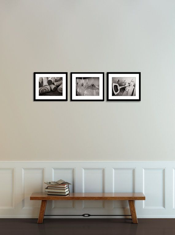 Set Of 3 Black And White Wine Art Print Photography Corks Glasses Corkscrew Lovers Kitchen Dining Room Bar Decor