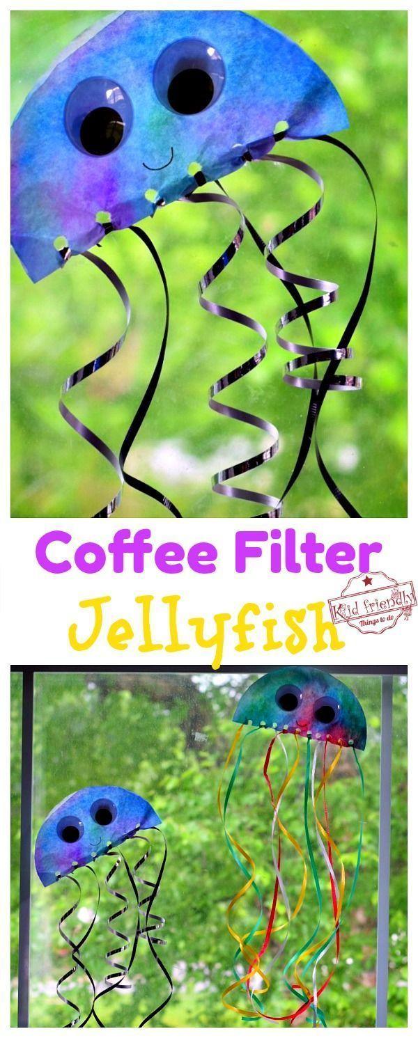 Coffee Filter Jellyfish Sun Catcher Easy Ocean Craft For Kids Kid