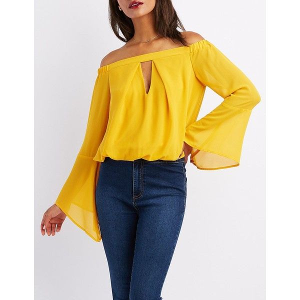 Charlotte Russe Off-The-Shoulder Keyhole Top ($23) ❤ liked on Polyvore featuring tops, blouses, mustard, yellow blouse, yellow top, yellow off the shoulder top, off shoulder tops and mustard yellow blouse