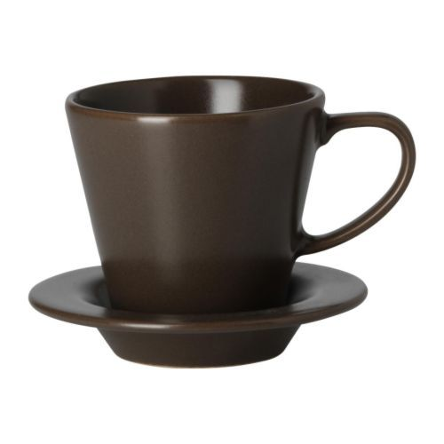 IKEA - DINERA, Coffee cup and saucer, With its simple shapes, muted colors and matt glaze, the dinnerware gives a rustic feel to your table setting. Petite, wonderful in the hand (both the shape and the texture of the glaze), and secure in its saucer, this is a cup I really love.