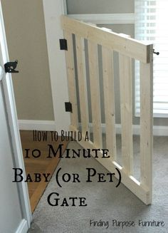 How I made a 10 Minute DIY Baby/Pet Gate for hardly nothing! So cheap and looks way better than the store bought baby gates. We were even able to make a french door style for my main floor.