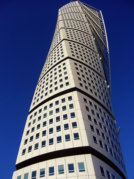 The innovative 54 story high twisting tower, called Turning Torso, Sweden