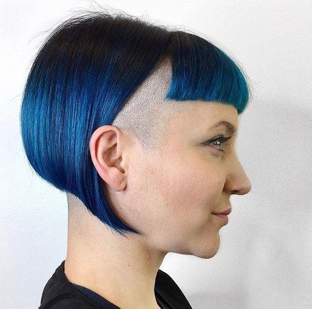 Side-shave, blue hair, French bob, mod hair, skinbyrd hair, contemporary hair, shaved head, skinhead, hair dye