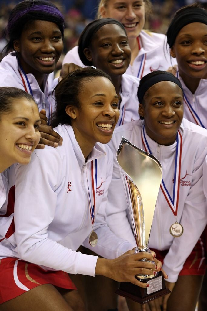 Pamela Cookey holds the trophy after England beat Australia 3-0 in the International Netball Series held in January.