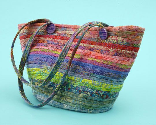 Bag made with Bali Pop. Fabric strips wrapped around clothesline.