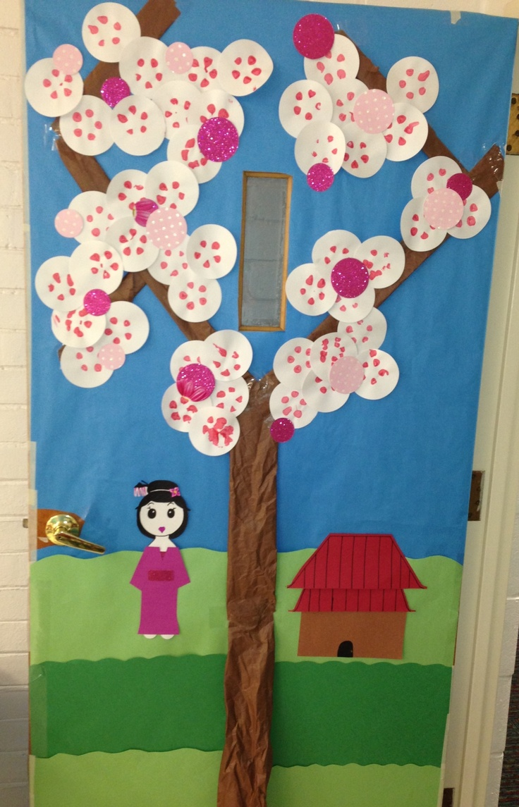 Japanese Classroom Decor ~ Cherry blossom door w geisha and japanese house in