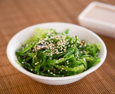 Wakame Seaweed Salad  not sure I can call this healthy...and usually the seaweed I get in a package is too salty to work for this. I want to figure out what seaweed to get and how to make this taste like what I would get at the sushi bar +...(low sugar).