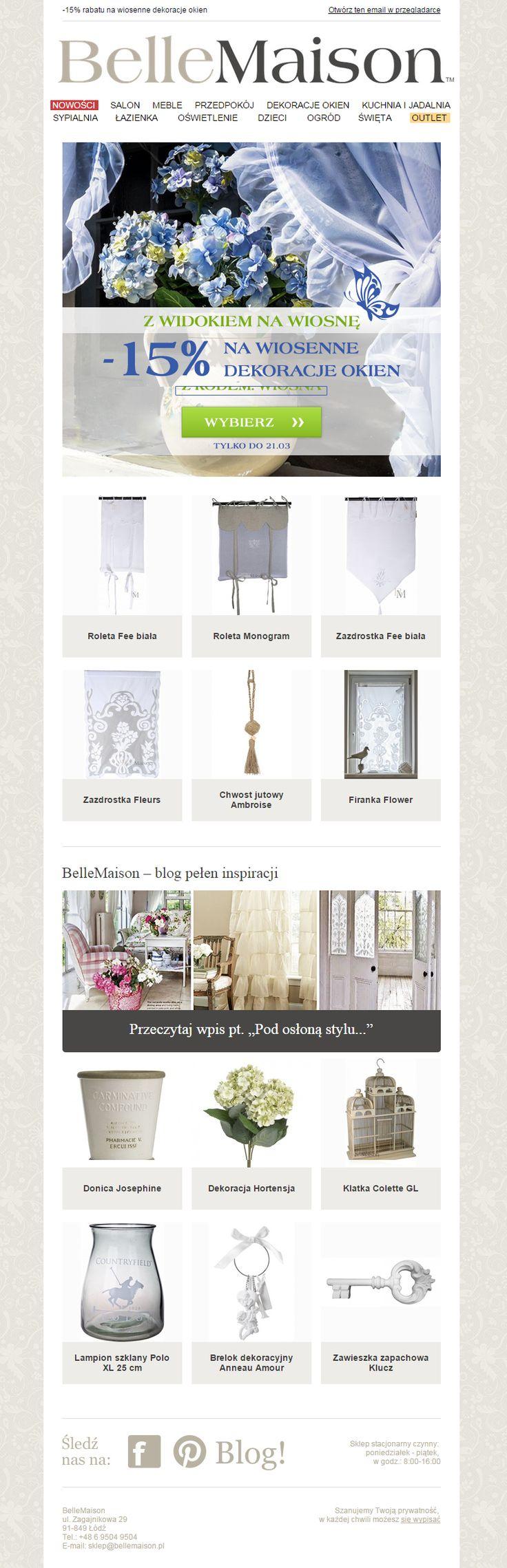 """""""Z widokiem na wiosnę"""" - newsletter promujący  okienne dekoracje w BelleMaison.  #email #template #ecommerce #newsletter"""