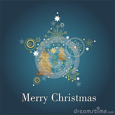 Vector image of christmas card with a blue background with christmas ornaments and merry christmas text,stars