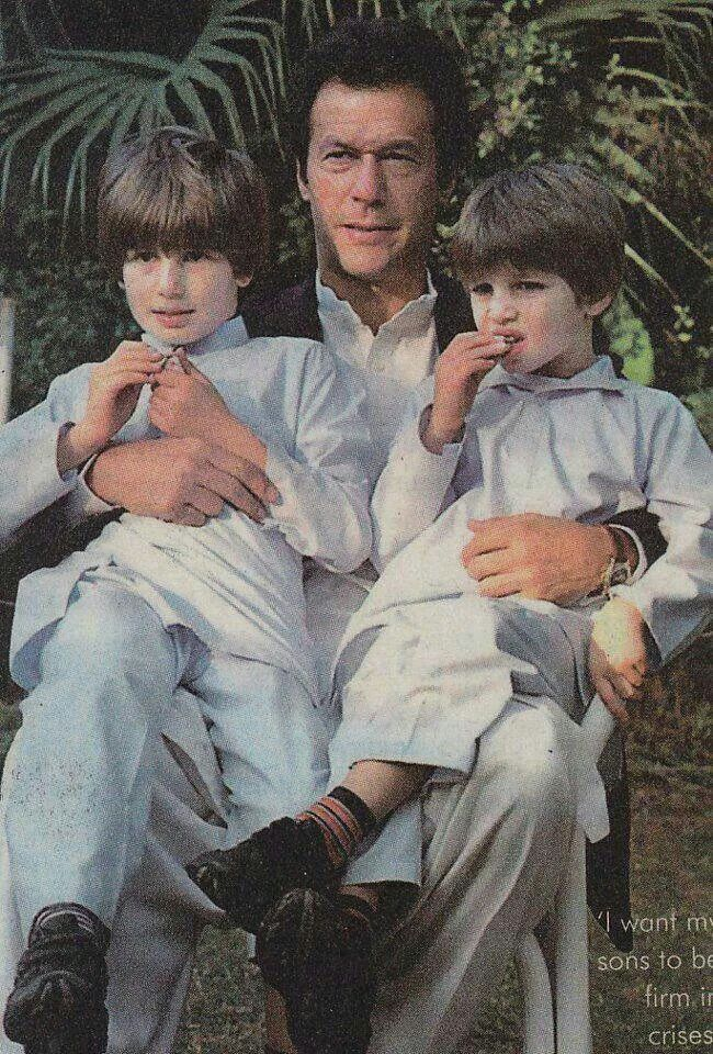 Imran Khan,  former Pakistani cricketer & head of political party,  PAKISTAN TEHREEK-INSAAF, with his son's