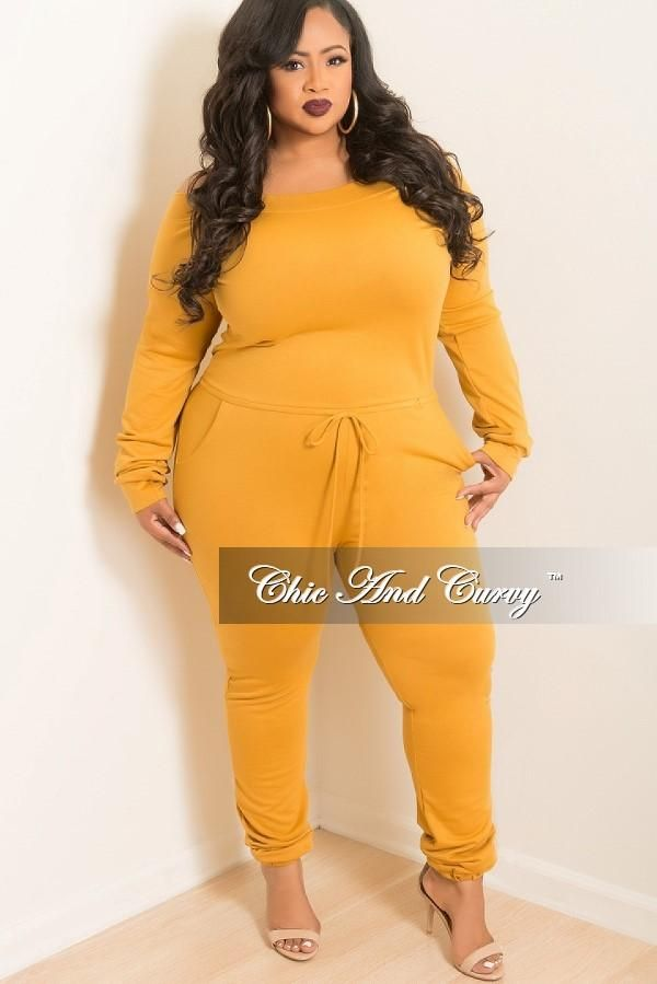 b9b1b11745c Plus Size Off the Shoulder Jumpsuit with Tie in Mustard – Chic And Curvy