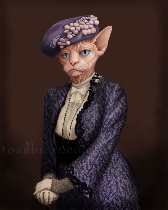 Dowager Countess Sphynx Cat Portrait - Downton Abbey.  Artist Kim Parkhurst - http://www.etsy.com/shop/toadbriar  This portrait is part of the 2013 'Houndton Tabby' series of animal portraits inspired by the beloved characters of Downton Abbey.