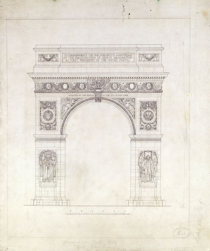Washington Arch Square Park New York City Front Elevation McKim Mead And White Architectural Records Collection PR NYHS Image