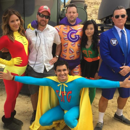 The cast of Scorpion behind the scenes for Super Fun Guys