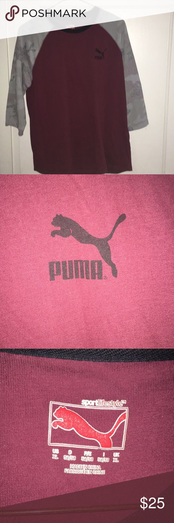 Puma shirt Long sleeve Burgundy Puma Shirt Puma Shirts Tees - Long Sleeve