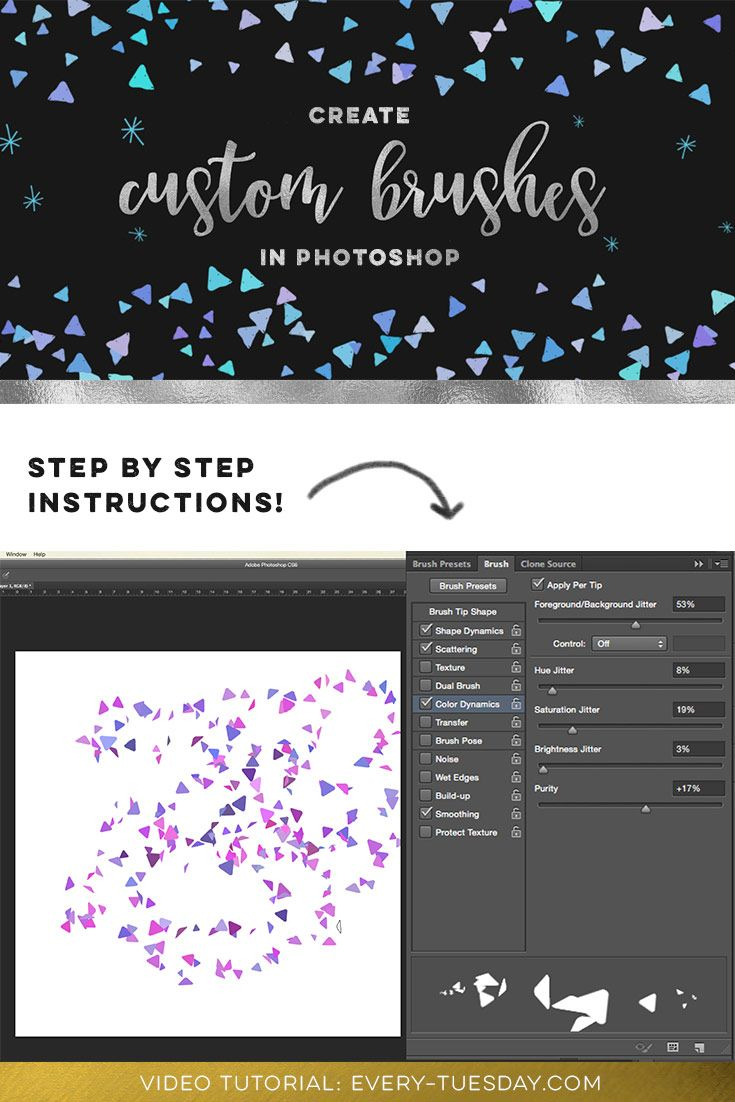 How to create a custom brush in Photoshop, video tutorial: https://every-tuesday.com/create-custom-brush-photoshop