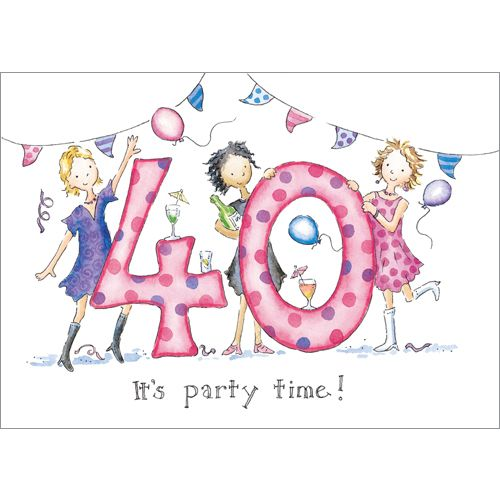 """Fun card for a 40 year old woman! its party time! Presentation: Embossed images with a white 100 gsm envelope. Blank for your own message Paper Type: Matt Textured Artist: Kate Garrett Size: 7 x 5"""" : 178 x 127mm"""