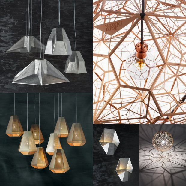 Tom Dixon's geometric lamps