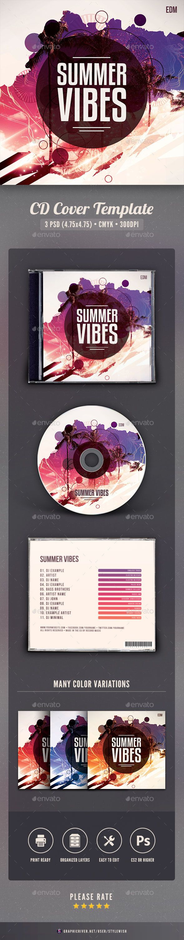 Summer Vibes CD Cover Artwork - #CD & DVD #Artwork Print #Templates Download here: https://graphicriver.net/item/summer-vibes-cd-cover-artwork/19428705?ref=alena994