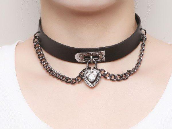 Национальный 2016 рок настоящее сердце не связанные с основной замок панк мода кожа ожерелье дизайнер