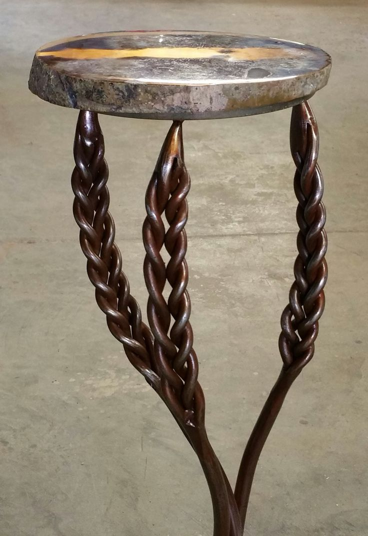 Hand Forged Steel Table With Wheat Base Ironwork Project