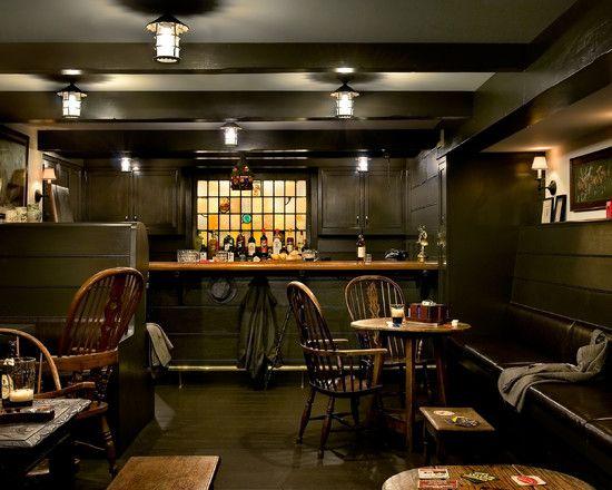 Astonishing Irish Pub Decorating Ideas for Your House Decor: Dark Green Traditional Basement With Irish Pub Decorating Ideas ~ spoond.com Decorating Inspiration