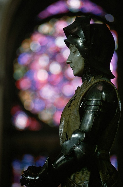 Jeanne D'Arc Statue in Reims Cathedral, France.
