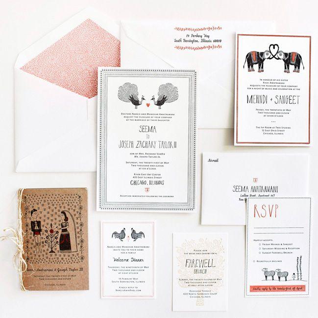 Seema + Joseph's Whimsical Illustrated Wedding Invitations | Design and Photo Credits: Mr. Boddington's Studio