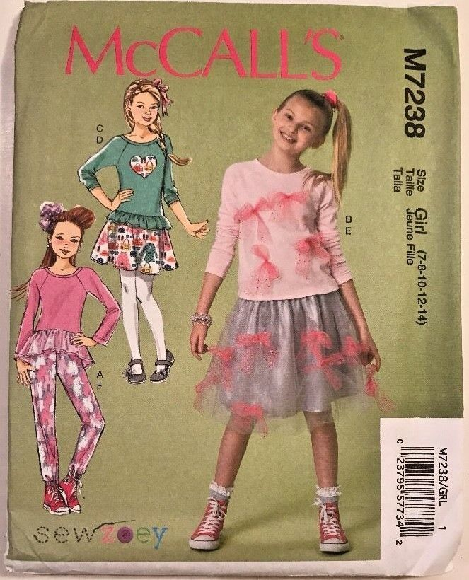 4d417e78765 McCalls 7238 Sewing Pattern Children Tops Skirt Pants Size Girls Plus Size  7-16  McCall