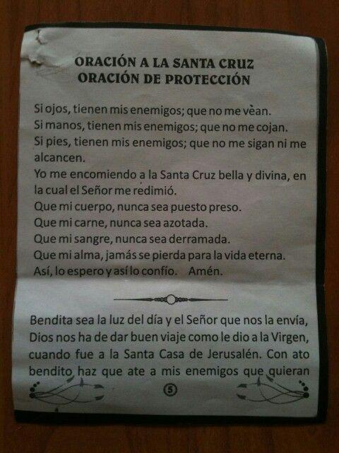 Oración de protección y a la Santa Cruz.