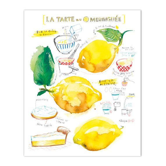 """Lemon meringue pie recipe Archival giclee reproduction print. Signed with pencil. Printed on fine art """" BFK Rives """" hot-pressed paper, smooth surface, 140 lb, 100% cotton (acid free ), using archival"""