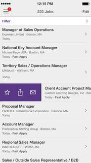 The Monster job search app has an uncluttered design 8/31/16