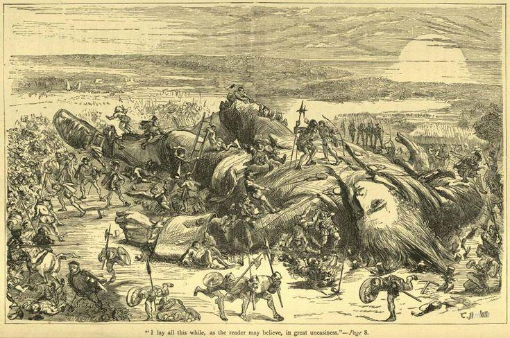 """Gravura de Thomas Morten feita para """"As Viagens de Gulliver"""", produzida em 1865, um ano antes da morte precoce do ilustrador inglês."""