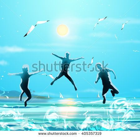 Kids on beach. Brazil Summer Sea landscape, sun and sky, seagull flying on blue sky. Kids Holiday, Summer Holiday, Sport, Vacation. Rio 2016 Summer Olympic Games Brazil. Art kids running on beach.