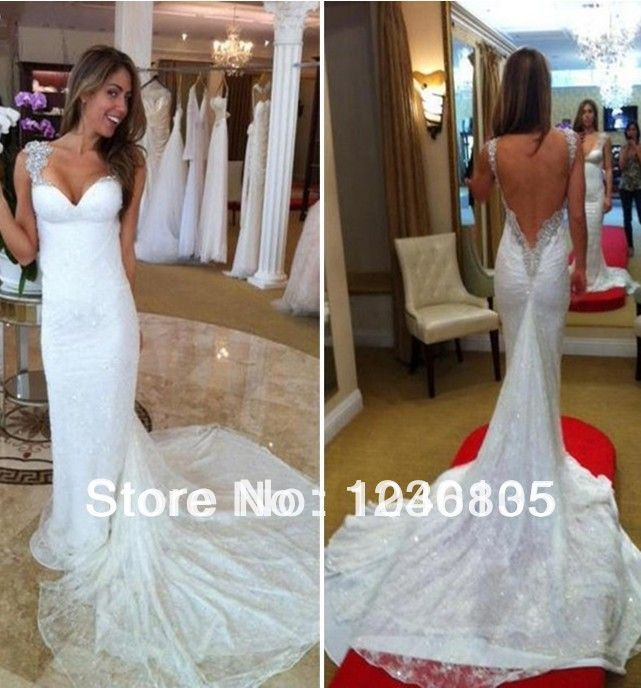 Y Mermaid Backless Fish Tail Organza Marriage Wedding Dresses Custom Made White Ivory 168 00