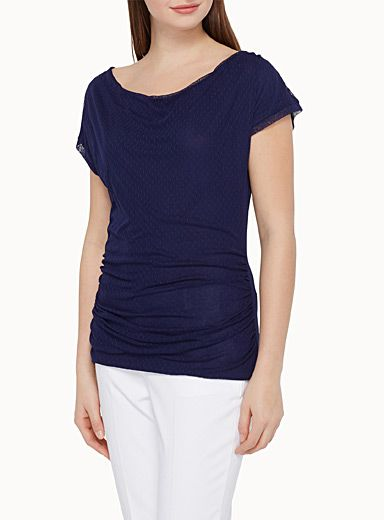Simons, $29.95 Style: 8803-67632, Exclusively from Contemporaine    - Refined layered delicate textured fabric on a fine tone on tone solid-coloured knit  - Slightly draped low ballerina neckline  - Small cap sleeves with trimmed edging  - Gathered seams on the sides  - Long form-fitted style