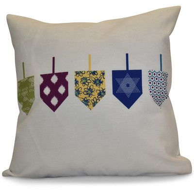 """The Holiday Aisle Hanukkah 2016 Decorative Holiday Geometric Throw Pillow Size: 18"""" H x 18"""" W x 2"""" D, Color: White"""